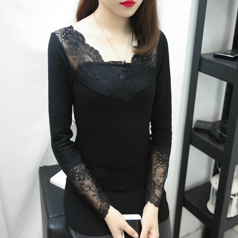 秋冬季韩版百搭V领弹力螺纹针织蕾丝打底衫女士紧身t恤长袖上衣女