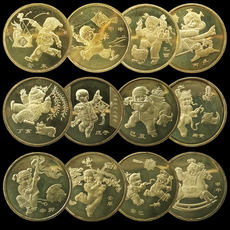 A round of 12 Zodiac commemorative coins full set 03 years of sheep coins - 14 years RM 12 pieces of circulation commemorative coins