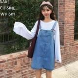 韩版清新学生个性大口袋A字背带裙潮夏季新款宽松百搭牛仔连衣裙