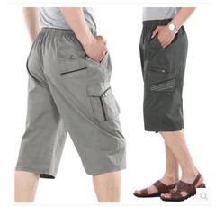 中年男士休闲短裤宽松夏季沙滩裤 中老年爸爸夏装中裤纯棉七分裤