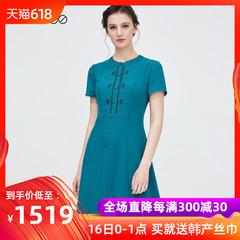 dmodes黛玛诗2019夏季新款镂空刺绣复古连衣裙长款修身裙子女气质