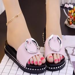 新款搭扣一字拖女夏外穿时尚带钻坡跟凉拖鞋女增高厚底沙滩凉拖