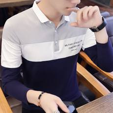 Men's long-sleeved t-shirt spring and autumn clothes lapel cotton body 桖 male Korean version of autumn shirt collar polo shirt youth shirt