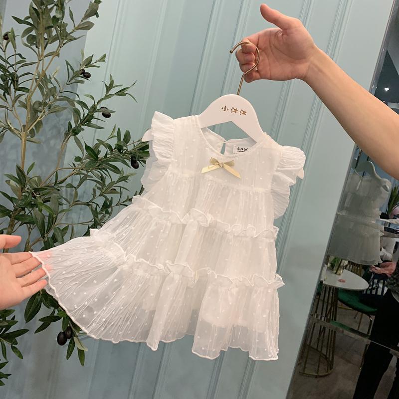 女童背心裙夏装小女孩公主裙洋气蓬蓬小童女宝宝连衣裙雪纺婴儿裙