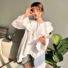 甜美荷叶边白衬衫女长袖2018春季新款韩版百搭系带圆领娃娃衫衬衣
