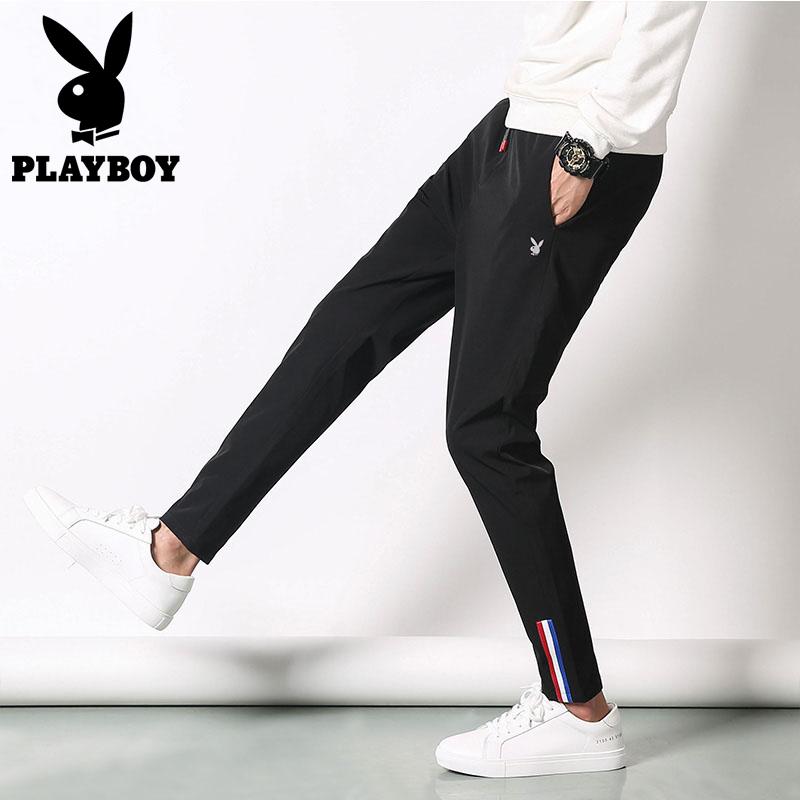 PLAYBOY/花花公子束脚裤男秋季修身小脚弹力青年男士时尚休闲长裤