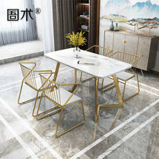 Nordic ins net red simple marble dining table light luxury small apartment table western long table golden wrought iron chair