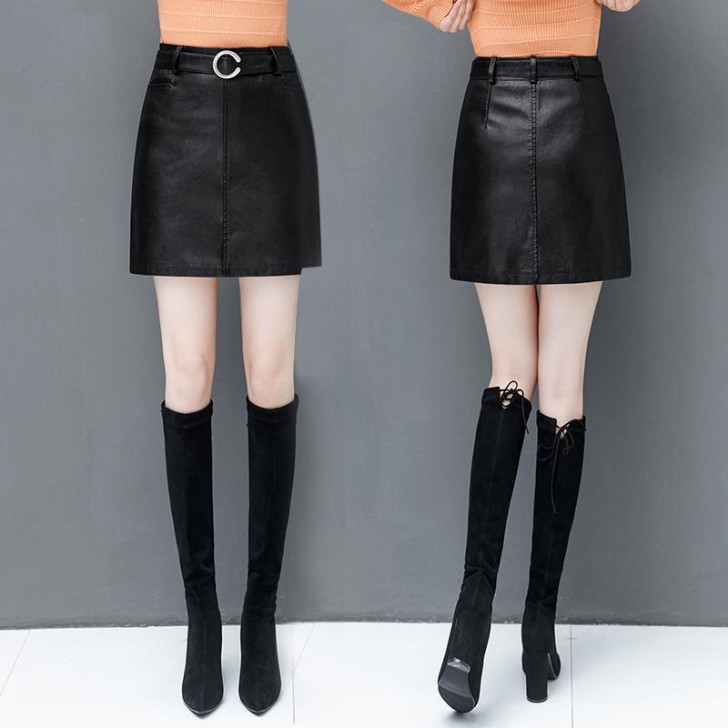 皮裙女2018新款韩版高腰显瘦半身裙秋冬女a字短款PU包臀裙一步裙