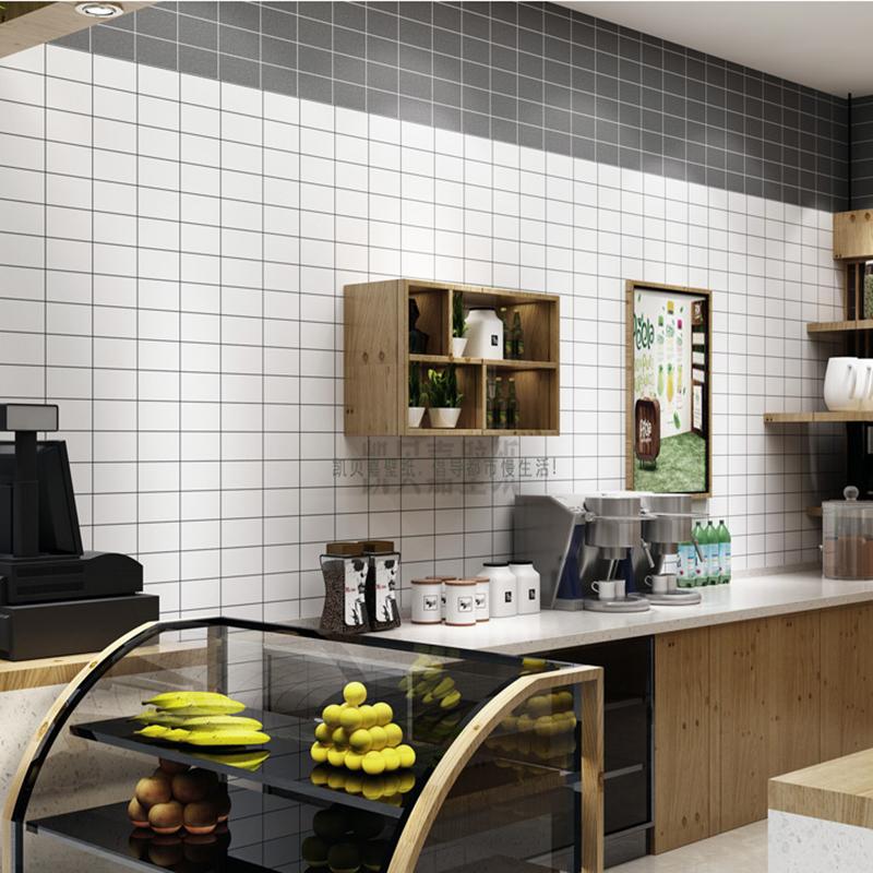北欧ins风格壁纸客厅卧室 黑白色方格子现代简约时尚墙纸奶茶店铺图片