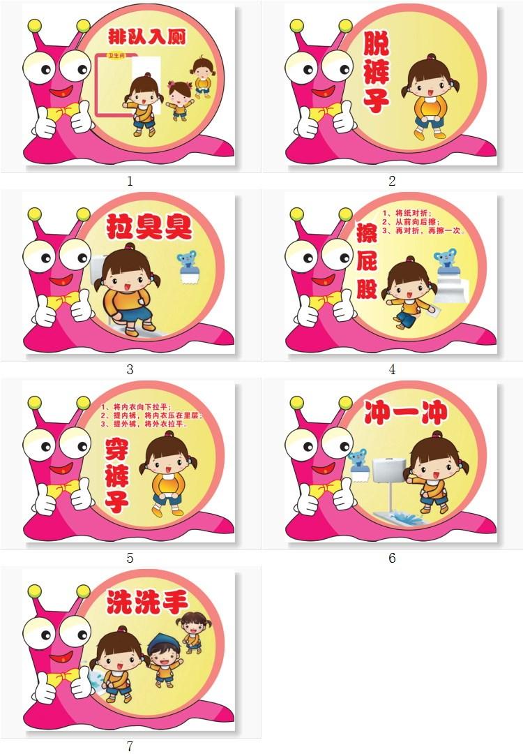 幼儿园步骤坐便入厕流程图蹲便如厕卫生间上厕所示意图大小便墙贴图片