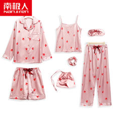 Antarctic strawberry seven sets of pajamas female summer ice silk thin cute simulation silk harness suit spring and autumn girls