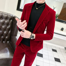 Casual small suit male suit Korean version of Slim handsome red dress groom wedding gold velvet suit tide