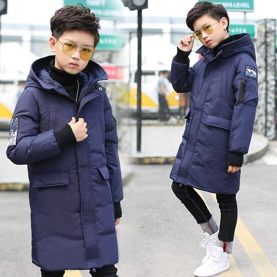 Boys and children, boys, new New children's clothing, children's clothing, autumn and winter, down jacket, 12 coats, long section, 15 years old