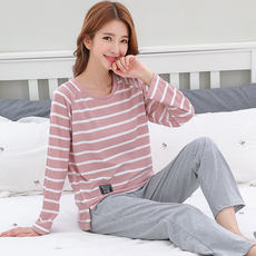 Spring and autumn pajamas women's autumn wear women's cotton long-sleeved suit thin section cotton sweet cute home service winter