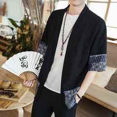 中国风男装七分袖棉麻上衣日本和服开衫亚麻和风外套刺绣居士服潮