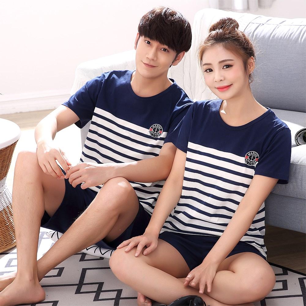 盛夏情侣睡衣女夏季纯棉短袖韩版可爱男士全棉薄款家居服两件套装