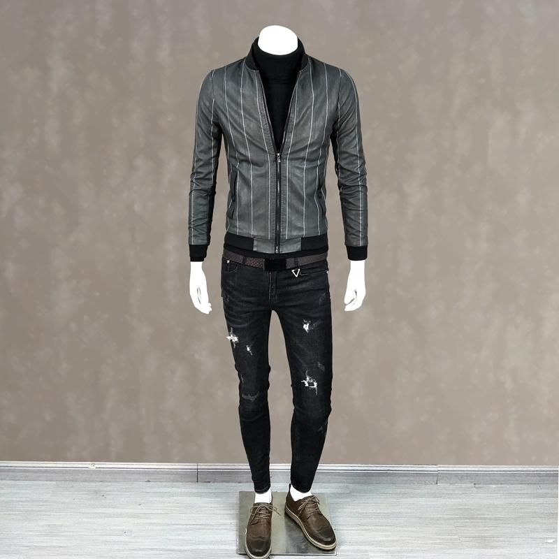 青年时尚男装_冬季新款男装pu皮衣青年韩版时尚潮流外套加绒夹克短装男外衣褂子