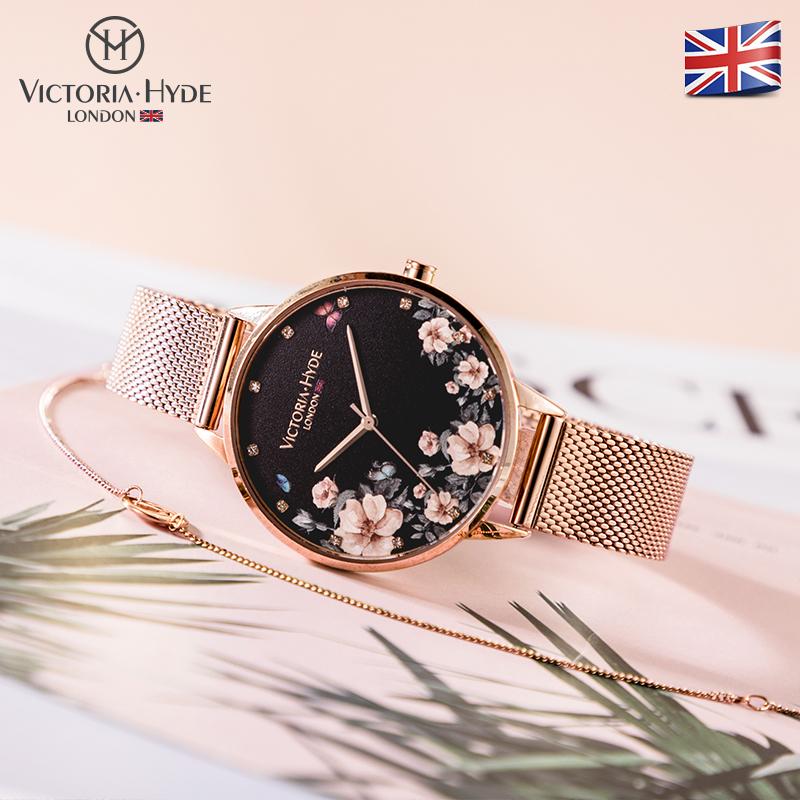 VH.London手表女 新款时尚英国小众印花腕表防水休闲女表钢带dw