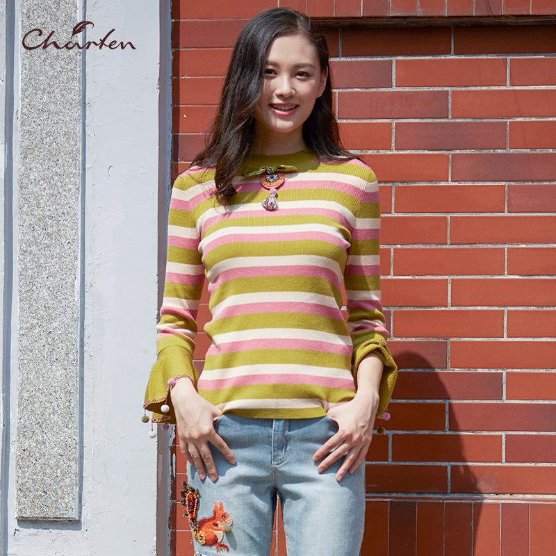 CHARFEN朝峰18新款针织衫条纹喇叭袖修身显瘦女上衣CF83A230-258C