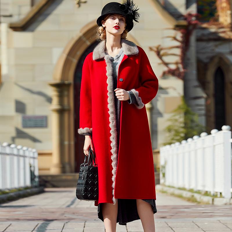 红色毛呢大衣女2019秋冬季新款中长款水貂毛毛领羊毛皮草呢子外套
