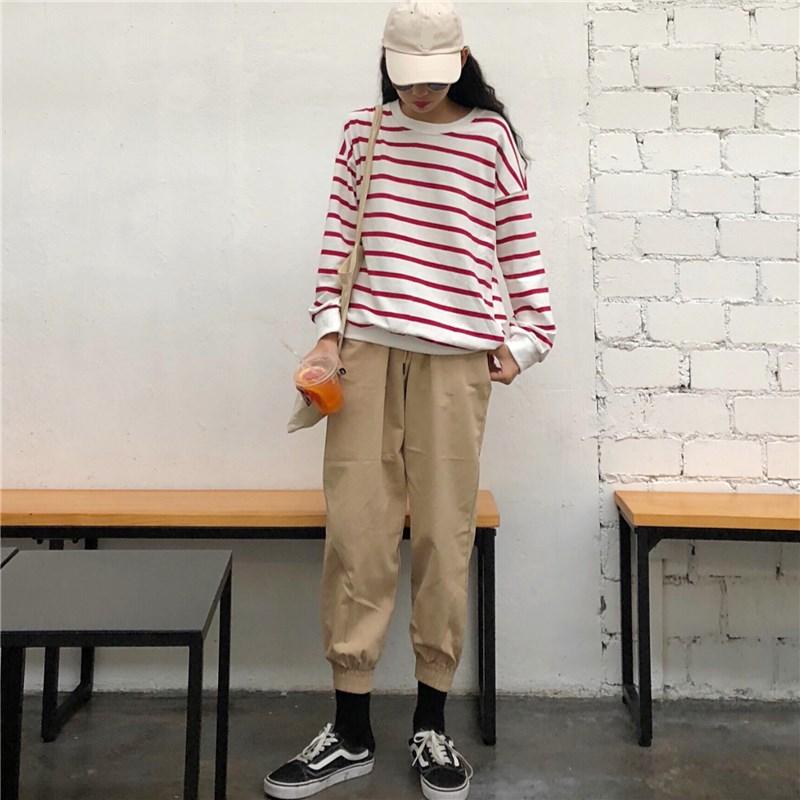 秋季女装套装2018新款复古条纹长袖上衣+宽松休闲显瘦束脚工装裤