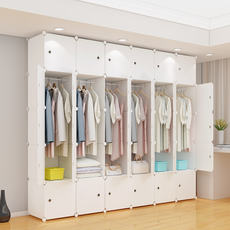 Wardrobe simple modern economical assembled plastic fabric adult combination assembled wardrobe bedroom storage cabinet