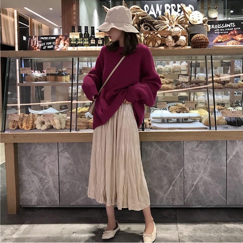 秋天上衣女chic宽松百搭简约套头针织毛衣+中长款纯色半身裙套装