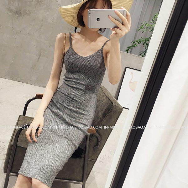 夏季中长款修身包臀背心吊带裙连衣裙长裙弹力内搭紧身打底衫潮