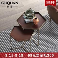 顾全北欧简易可移动小户型客厅铁艺茶几沙发边几床头六边托盘小桌