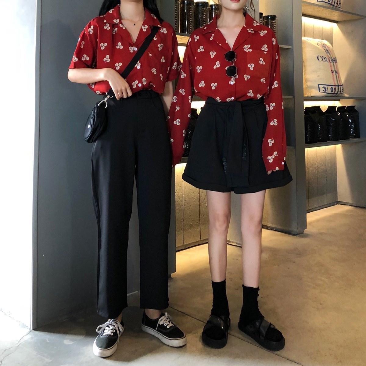 韩版时尚休闲套装春季女装闺蜜碎花衬衫+高腰阔腿裤休闲裤两件套