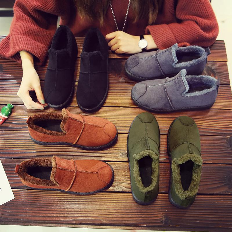 棉鞋女冬季加绒保暖女士短靴平底休闲鞋一脚蹬懒人雪地靴防滑女鞋