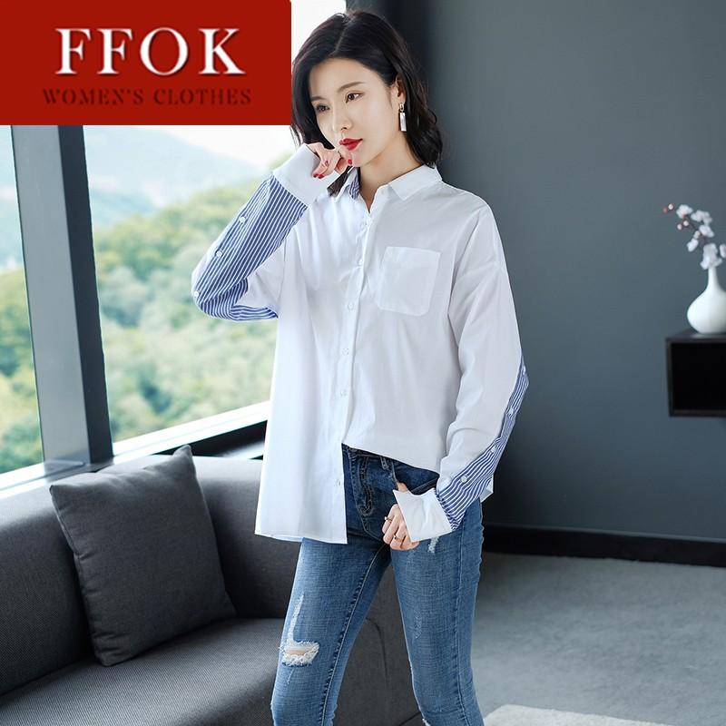 FFOK小清新衬衫女长袖上衣春夏2019新款女装春装宽松韩版时尚洋气