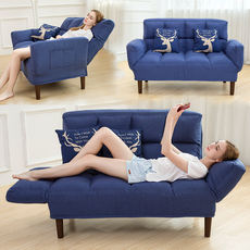 Modern lazy sofa bed small apartment foldable living room double tatami dual-use fabric leisure chair