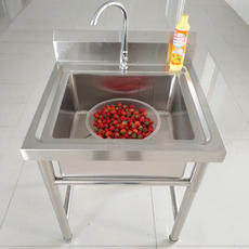 Stainless steel pool single trough wash basin with bracket washing dishes washing commercial large floor kitchen sink household