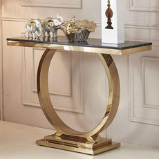 Marble entrance table modern minimalist light luxury stainless steel titanium gold entry hall table desk porch decorative cabinet