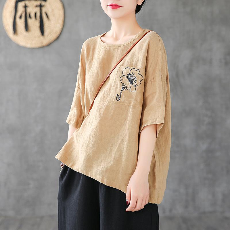 DZA花朵刺绣棉麻T恤女短袖宽松罩衫夏季2019新款休闲亚麻半袖上衣