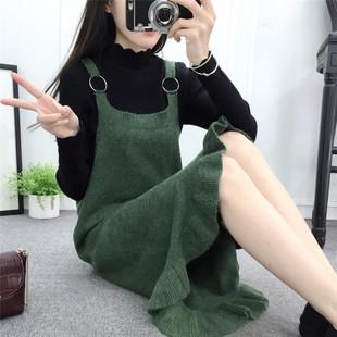 冬装新款荷叶边针织连衣裙宽松女裙木耳鱼尾裙学生外穿毛衣背带裙