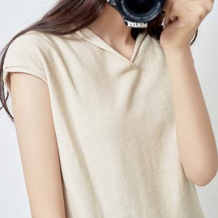 夏装棉麻针织短袖t恤女装宽松V领针织衫打底半袖体恤百搭纯色