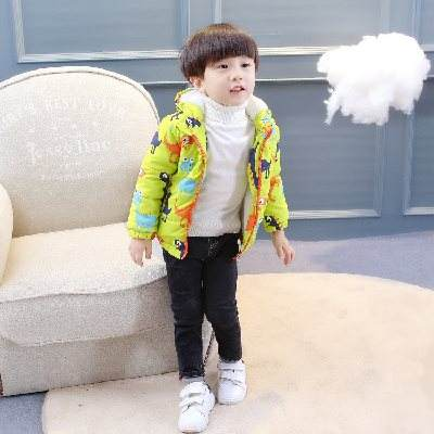 Male baby plus velvet jacket winter children 1-3 years old children's cotton jacket 2 thickening clothes boy cotton coat women