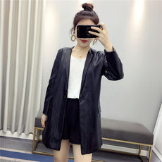 Huiyige autumn long sleeve suit collar PU leather Korean Slim OL commuter leather suit long coat women