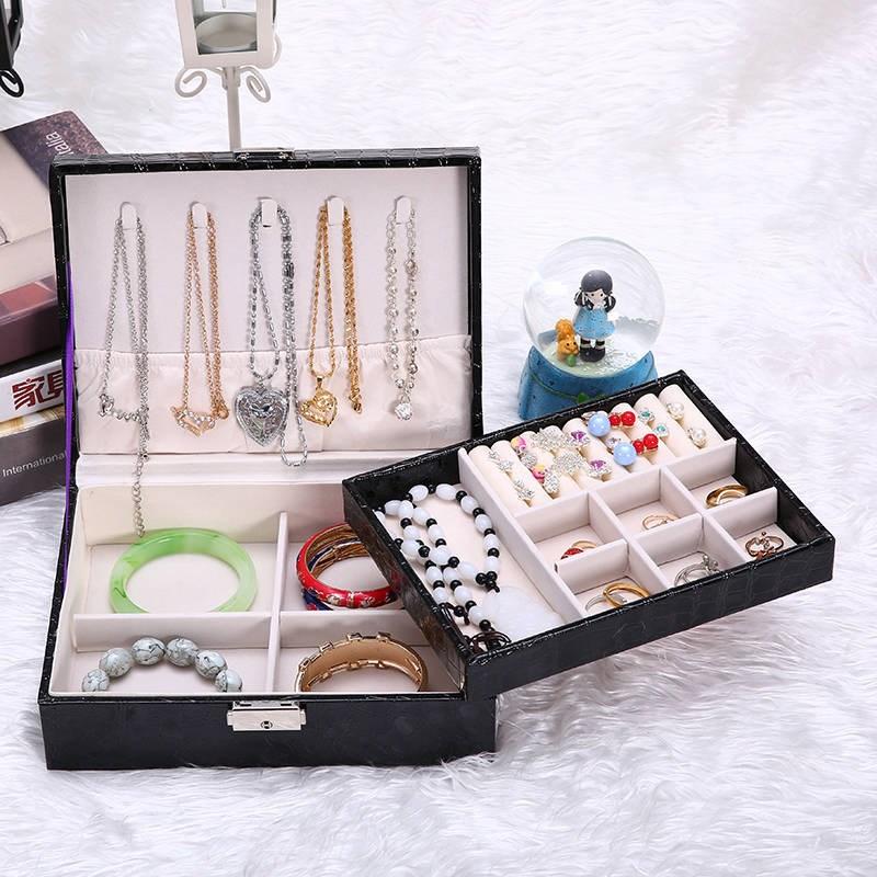 首饰盒收纳大容量双层欧式公主木质带锁装耳环项链珠宝盒简约
