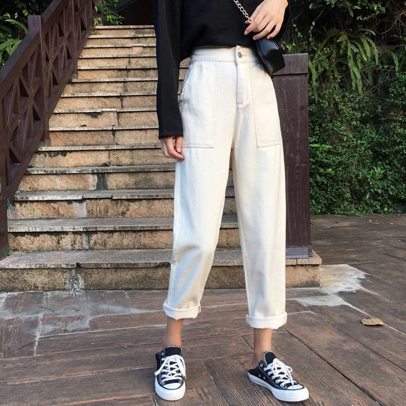 牛仔裤女装秋季2018新款韩版宽松显瘦松紧高腰直筒阔腿长裤子学生