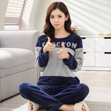 Fat flannel mother pajamas women autumn and winter thickening middle-aged warm coral fleece plus fertilizer XL home service