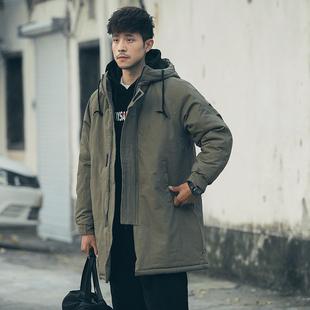 男士外套冬季2018新款棉服潮流韩版中长款棉衣帅气加厚男装棉袄潮