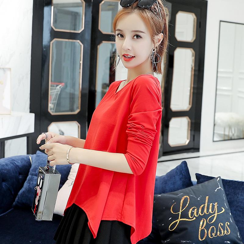 春季长袖t恤女宽松打底衫2019新款韩版百搭女装上衣外穿时尚体恤
