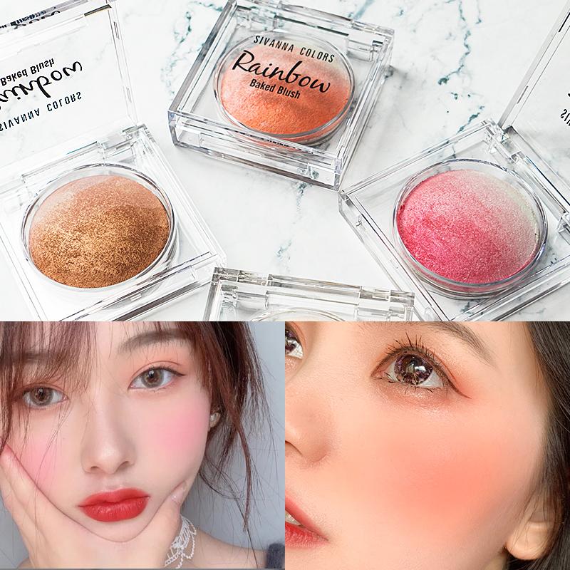 泰国思薇娜腮红高光一体盘网红同款橘色正品裸妆自然珠光腮红盘晒