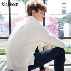Carbine men's high collar long-sleeved sweater youth casual sweater white sweater autumn and winter tide card sweater B /
