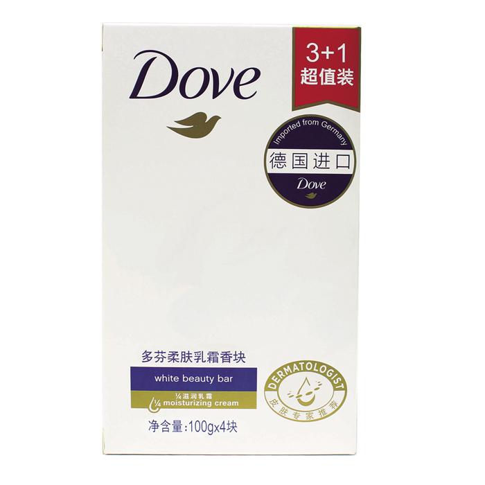 【新包装】Dove/多芬 柔肤乳霜香块100g*4块装 香皂洁面皂中性
