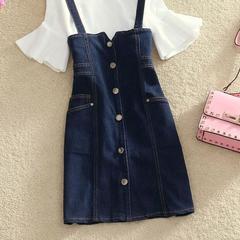 短袖牛仔连衣裙子夏装2018新款韩版两件套女单排扣短裙修身背带裙