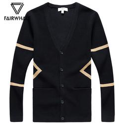 马克华菲针织开衫外套2018春季新款男士V领韩版线衣潮流外穿毛衣